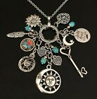 Boho Gypsy Summer Vibes Feather Sun Moon Flower Heart Charm Necklace Jewelry