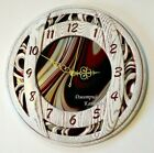 New wall clock fashion brand burgundy stained glass white wood oak round decor