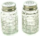 Clear Textured Glass Salt and Pepper Shakers Vintage Retro Style Old Diner Type