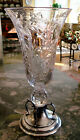 Reed  Barton Pairpoint Etched Crystal  Sterling Vase dated 1936 Estate
