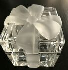 Tiffany  Co Glass Crystal Gift Box with Frosted Ribbon Bow Lid Excellent Cond