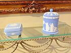 TWO WEDGWOOD BLUE COVERED SQUARE AND ROUND DISHES VINTAGE