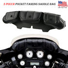 3Pocket Windshield Batwing Fairing Pouch Bag for Harley Electra Glide Touring JH