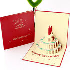 3D Pop Up Paper Greeting Card Happy Birthday Cake Card Gifts Carving US SHIP New