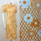 70S VINTAGE YELLOW LATTICE DAISY FLOWER SHIRT DRESS 16 18
