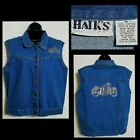 VTG HAIKS Womens Blue Denim Jean Jacket Vest Embellished Studded Motorcycle M