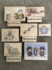 Lot of 11 House Mouse Rubber Stamps Mice Xmas Love Birthday Tea Stampabilities