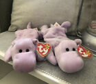 2 TY Original Beanie Babies Happy The Hippo PVC Pellets One With Rare Tape Tag