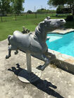 FULL SIZE CAST ALUMINUM CAROUSEL HORSE 53 TALL ON COCA COLA BASE STAND