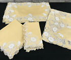 Antique Italian Linen Placemats Runner Napkins Hand Embroidered 17 Pc Service 8