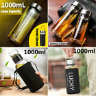 New 800 1000 1500ml Large Capacity Glass Water Bottle Tea Infuser Travel Mug Cup
