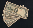 LOT PHILIPPINES JAPANESE GOVERNMENT 5 X 5 PESOS P 110 1943 BANKNOTES DIF BLOCKS