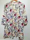 UMGEE Bohemian Tunic Dress Boho Floral Gypsy Bell Sleeves Hippie Lace Size S