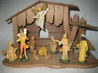 Vintage Hard Plastic Christmas Nativity 12 figures wood creche HONG KONG