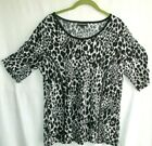 Tailored Front Fashion Bug Animal Print Ruched Short Sleeve Stretch Top Large