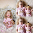 US Matching Clothes Big Sister T shirt Little Sister Romper+Long Pants Outfits