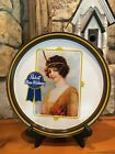 VINTAGE PABST BLUE RIBBON BEER SERVING METAL TRAY TIN PLATE FLAPPER GIRL BAR