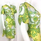 PSYCHEDELIC 70S VINTAGE YELLOW GREEN WHITE FLORAL DRESS 14