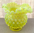 FENTON YELLOW VASELINE TOPAZ OPALESCENT HOBNAIL 4 3 8 TALL ROSE BOWL 4 CRIMP