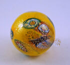 NEW MURANO MILLEFIORI BEAUTIFUL YELLOW ORNAMENT BALL  MURRINE ITALIAN ART GLASS