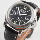 44mm brushed Power reserve black dial green marks date seagull automatic watch