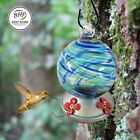 Hummingbird Feeder Blown Glass Yard Garden Patio New Design Blue Lagoon 3 cup