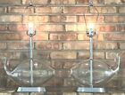 Pair Of Vintage Blenko Mid Century Modern Chrome Clear Glass Fish Whale Lamps