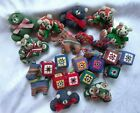 24 Vintage Handmade Fabric Ornaments Animals and Cubes Excellent Condition