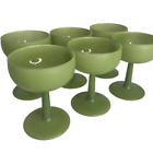 Antique Frosted Footed Ice cream Sherbet Cocktail Glass Set of 6 Lime Green