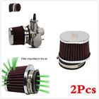 50mm Air Filter Motorcycle Scooter Engine Intake High Flow Cleaner Pods 2Pcs Red