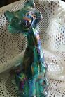 Fenton Art Glass Teal Green Iridized Carnival Alley Cat MEOW