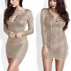 Womens Sheer Long Sleeve V-Neck Lace Up Bodycon Mini Dress Party Slim Clubwear