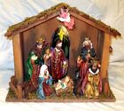Vintage Christmas Nativity Scene Wood Stable Stained Glass Window 10 Piece 16x12