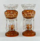Pair Amber Mantle Lusters Cut To Clear Bohemian 12 3 4 Tall