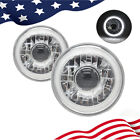 7 INCH ROUND WHITE HALO GLASS PROJECTOR HEADLIGHTS LAMPS H6014 H6015 H6024