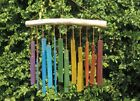 RAINBOW RECTANGLES RECYCLED GLASS WINDCHIME multi coloured garden FAIRTRADE NEW