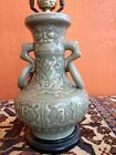 Antique C1900 Green Celadon glazed Chinese Qing Porcelain Vase Lamp
