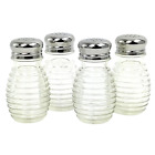 Texture Glass Salt and Pepper Shakers Vintage Retro Style Stainless Steel Tops