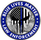 Blue Lives Matter Thin Line Punisher Hard Hat Sticker Police Officer Decal