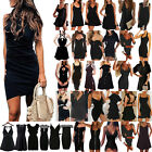 Women Black Extra Long Tank Top Strappy Summer Evening Party Cocktail Sun Dress