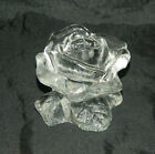 Glass Rose Candle Holder Paperweight Textured Mini Candlestick Holder w Candles