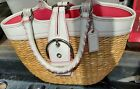 Coach Bucket Natural Straw Basket Bag Purse White and Pink Model L3K 6270