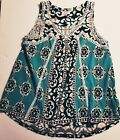 Crown  Ivy Medallion Blue Flower Power Top Size XS