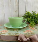 VINTAGE FIRE-KING Backstamp JADEITE JANE RAY TEA CUP AND SAUCER OVEN WARE