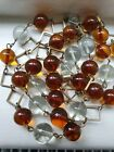 Vintage Art Deco Very Long Pools Of Light Amber and Clear Glass Orb Necklace