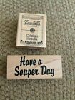 Have a Souper Day wood mounted rubber stamps lot of 2
