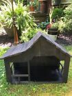 Vintage LARGE Handmade Rustic WOOD Nativity STABLE Manger Creche 18 3 4 Lighted