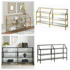 CONSOLE TABLE Metal Tempered Glass Open Shelving Storage Shelf Multiple Colors