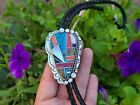 Native American jewelry Multi Stone Inlay Sterling Silver Bolo Tie  signedLB