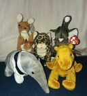 Ty Beanie Baby Wildlife Lot (Trumpets, Ants, Pouch, Sneaky, Niles)